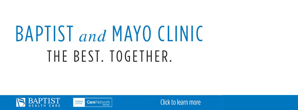 Graphic of Mayo and Baptist Health Care ad